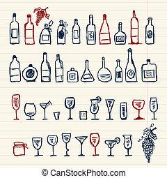 alcohol's, schizzo, bottiglie, wineglasses