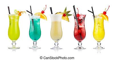alcolico, isolato, set, cocktail, bianco