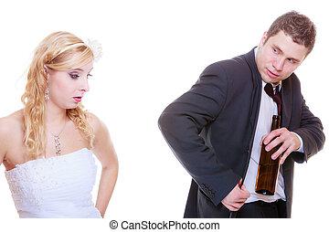 alcolico, ubriaco, sposo, argomento, sposa, detenere