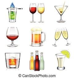 alcolico, vettore, set, icone