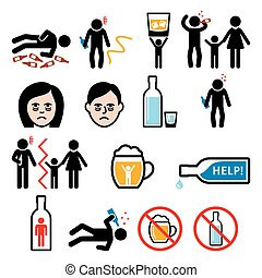 alcolismo, alcool, ubriaco, icone, dipendenza, uomo
