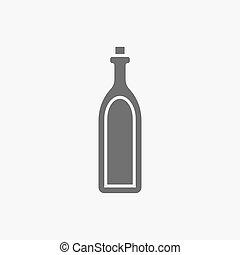 alcool, bevanda, simbolo., segno, bottiglia, icon.