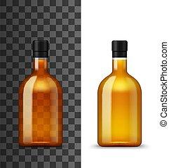 alcool, bevanda, vettore, bottiglia, vetro