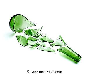 alcool, boisson, cassé, vert, bouteille, gaspillage