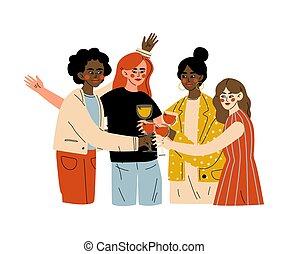 alcool, celebratory, illustrazione, amici, festeggiare, bere, giovane, importante, festa, occhiali, donne, vettore, uomini, clinking, evento