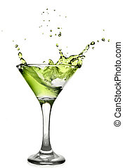 alcool, cocktail, isolé, éclaboussure, blanc vert