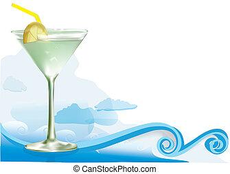 alcool, cocktail, verde
