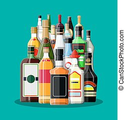 alcool, collection, boissons