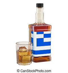 alcool, consommation, concept., rendre, production, grèce, boissons, 3d