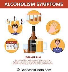 alcool, danger, symptoms., infographic, dépendance, alcoolisme
