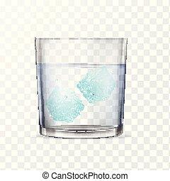 alcool, deux, eau glace, verre, cubes., ou
