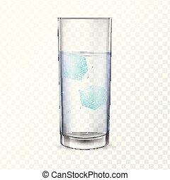 alcool, due, acqua ghiaccio, vetro, cubes., o