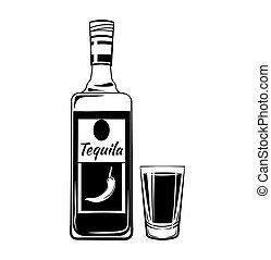 alcool, elements., verre, vendange, tequila, boisson, isolé, botlle., vecteur, fond, blanc