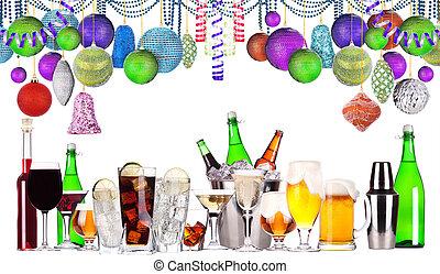 alcool, ensemble, noël, boissons