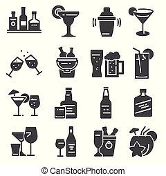 alcool, icone, audace, vettore, bevanda, illustrazioni, set.