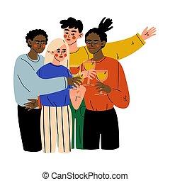 alcool, illustrazione, amici, festeggiare, bere, felice, importante, giovane, festa, occhiali, donne, vettore, uomini, clinking, evento