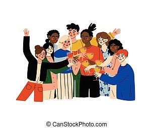 alcool, illustrazione, bere, festeggiare, nazionalità, importante, felice, persone, festa, giovane, occhiali, differente, donne, gruppo, vettore, uomini, clinking, evento