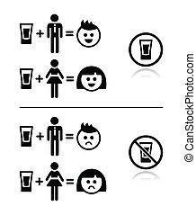 alcool, persone, h, -, triste, bere