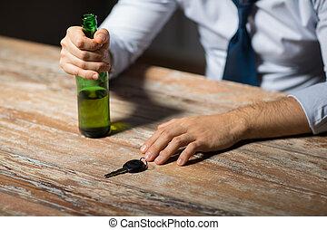 alcool, voiture, haut, clã©, mains, fin