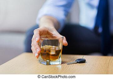 alcool, voiture, haut, main, clã©, fin, table