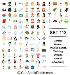 alcool, zombi, arme, production, illustration, femme, vecteur, publicité, mariage, vin, set., icône