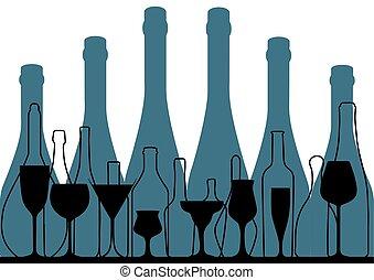 alcoolique, barre, menu, bleu