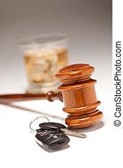 alcoolique, &, clés, voiture, boisson, marteau