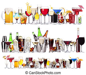 alcoolique, différent, boissons, ensemble, cocktails