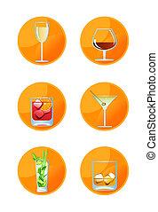 alcoolique, icônes, boisson