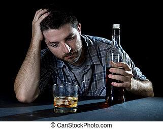 alcoolique, ivre, homme, alcoolisme, intoxiqué, concept, ...