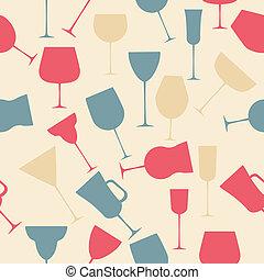alcoolique, modèle, seamless, verre., retro, fond
