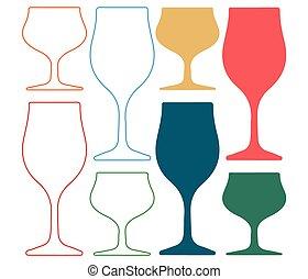 alcoolique, silhoutte, verre, silhouette