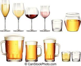 alcoolique, type, boissons, différent
