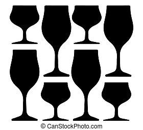 alcoolique, verre, silhouette