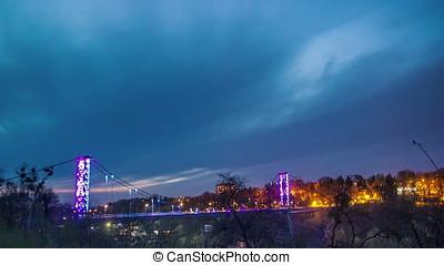Alcove in the night on bridge background