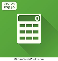 alculator icon. Business concept alculator pictogram. Vector illustration on green background with long shadow.