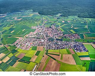 aldea, aéreo, vista