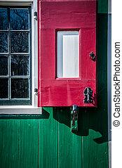 aldea, con, de madera, casas