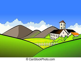 aldea, en, montañas