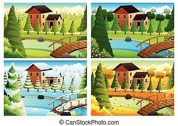 aldea, estaciones, cuatro