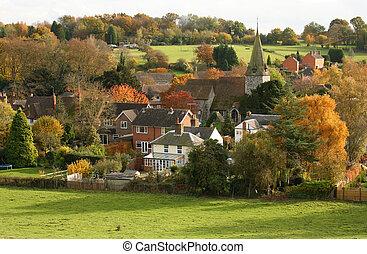 aldea inglesa, con, iglesia, en, otoño
