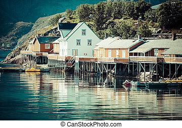 aldea, lofoten, rorbu, tradicional, noruego, rojo, pesca, reine, típico, noruega, islas, chozas