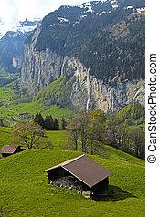 aldea montaña, en, alpes, suiza, .