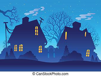 aldea, noche, silueta