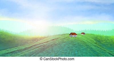 aldea, pastoral, paisaje
