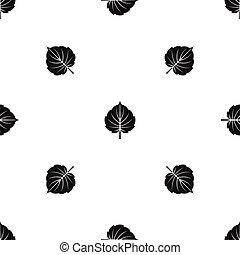 Alder leaf pattern seamless black
