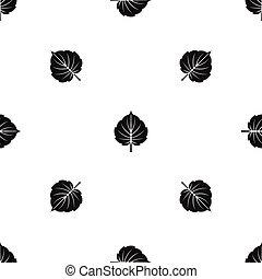 Alder leaf pattern seamless black