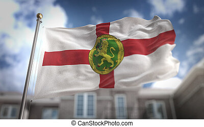 Alderney Flag 3D Rendering on Blue Sky Building Background