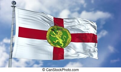 Alderney Flag in a Blue Sky. Use this clip loud