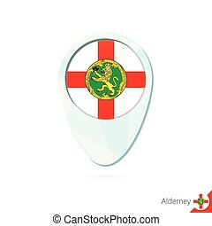Alderney flag location map pin icon on white background....